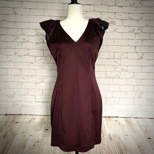 FRENCH CONNECTION Satin Ruffle Cocktail Dress